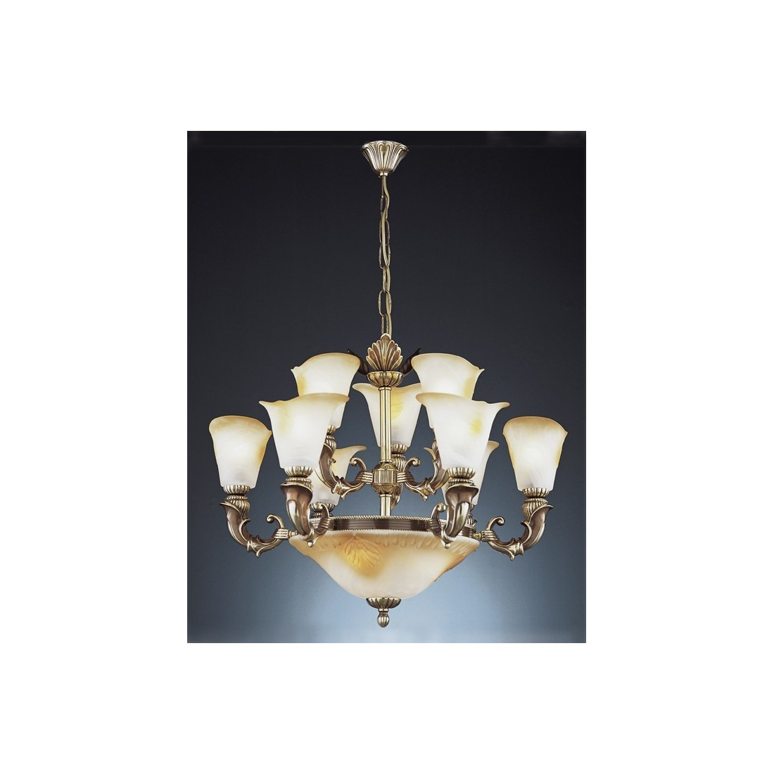 Semiplafón de bronce con tulipas de cristal de murano. Envío rápido