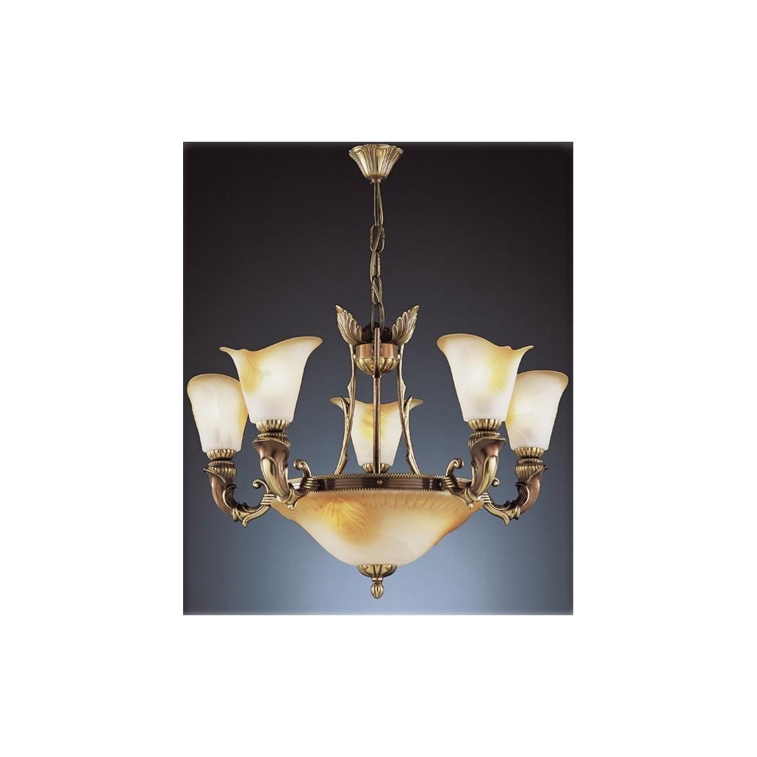 Semiplaf n de bronce con tulipas de cristal de murano - Lamparas de cristal de murano ...