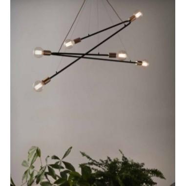 Aplique de pared 1 luz acabado marr n con pantalla de tela beige bombilla bajo consumo agotado - Apliques y lamparas ...