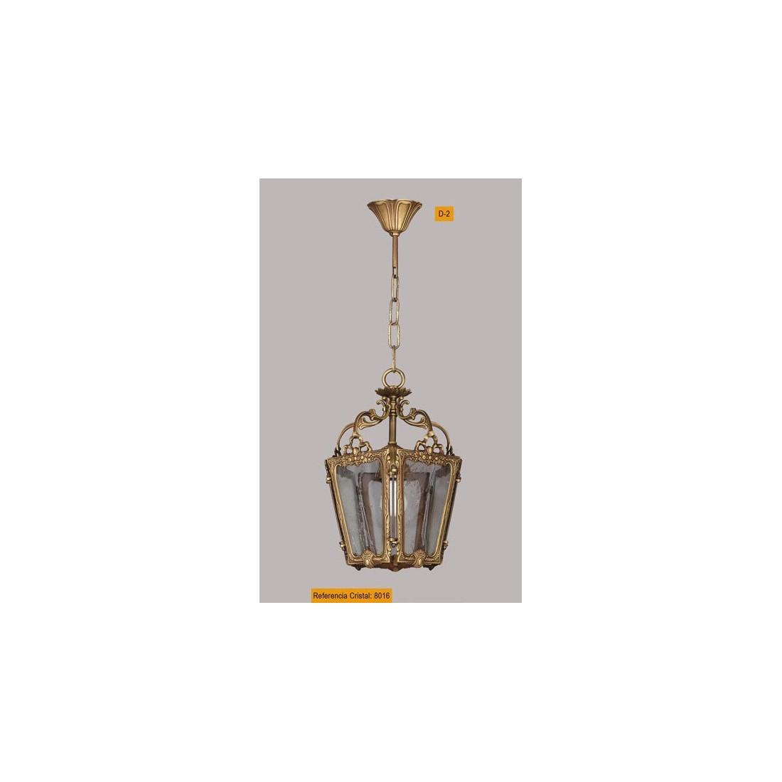 L mpara cl sica de bronce con tulipa de cristal de murano - Lamparas de pasillo ...